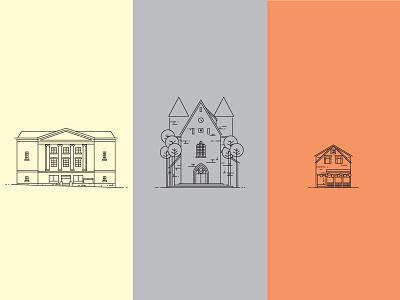 Stavanger minimal simple buildings illustration