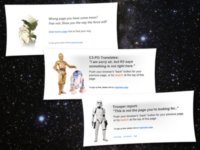 Star Wars Themed Error Pages (2012)