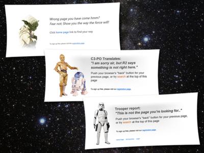 Star Wars Themed Error Pages (2012) 404 error star wars photoshop css html