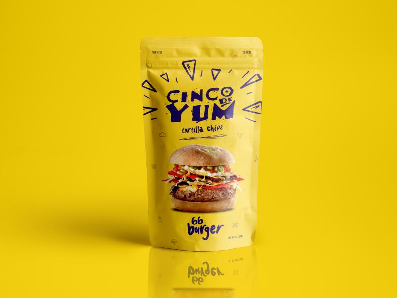 66 Burger Packaging bag hospitality restaurant burger yellow art direction logo branding chips packaging