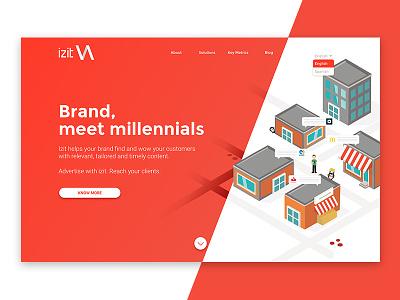 Izit web gradient app brand isometric illustration web design digital
