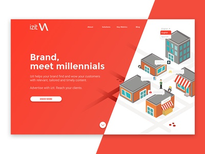 Izit web gradient app brand isometric illustration web design digital