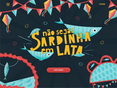 Não sejas sardinha em lata colors lisbon lisboa santos festas design desktop web illustration sardinhas sardinha em lata