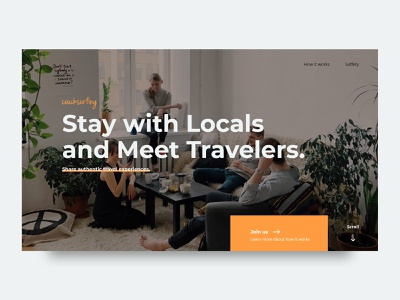 Couchsurfing redesign skillshare exercise dailyui landing page redesign couchsurfing minimal space hierarchy vector typography interaction design details web ui ux digital design
