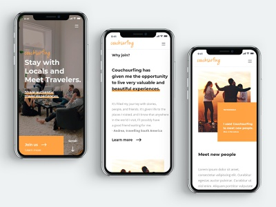 Mobile Couchsurfing concept redesign couchsurfing responsive design mobile digital product design details web ui ux digital design
