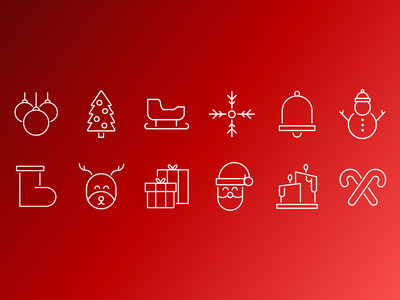 Christmas Icons red iconography icons christmas digital vector illustration details design