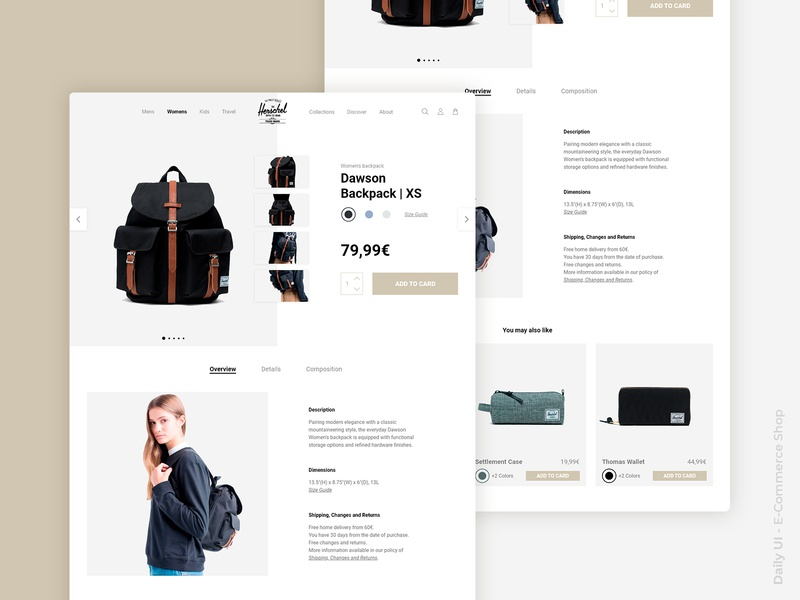 E-Commerce Shop backpack e-commerce shop ecommerce daily challange concept digital product design web details ux ui digital design