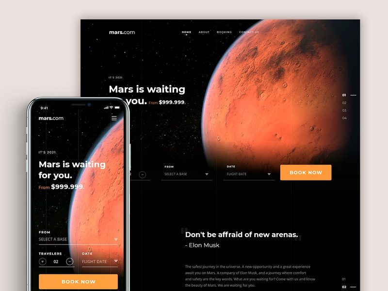 Responsive Web - Let's Go to Mars mars responsive design concept interaction design digital product design web details ui ux digital design