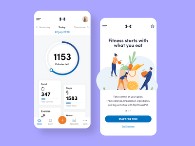 My Fitness Pal App Concept Design ux ui exercise app food app healthy eating fitness app application design daily web design