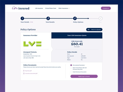 Insurance Policy Options Page