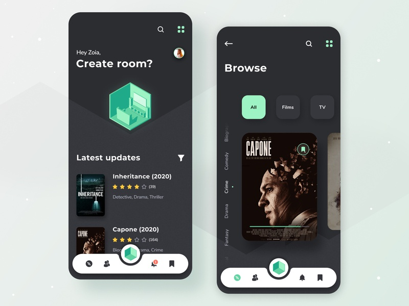 NotAlone app concept application mobile app green cinema films ux design mobile ux app ui app android ios home app uiux uidesign concept design web ux ui