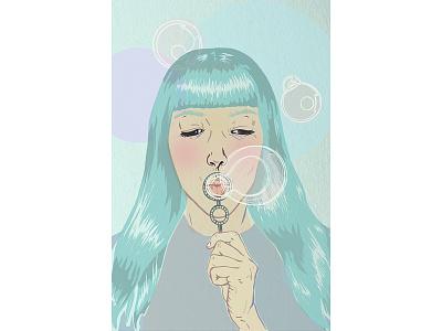 Blue Bubbles bubbles girl portrait illustration portrait colorful illustration