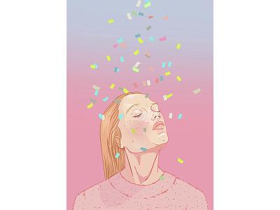 TGIF pink womans girls portrait colorful illustration