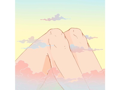 Mountains nature clouds mountains knees body colorful surreal art illustration