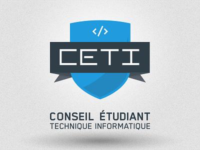 CÉTI 3 logo shield design branding logo design tech geek school