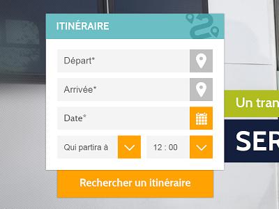 Calculateur d'itinéraire web design design calendar schedule bus trip form