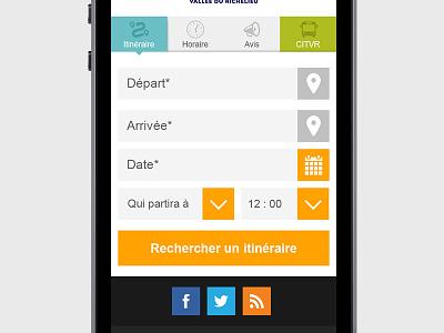 Calculateur d'itinéraire mobile web design design calendar schedule bus trip form mobile design website