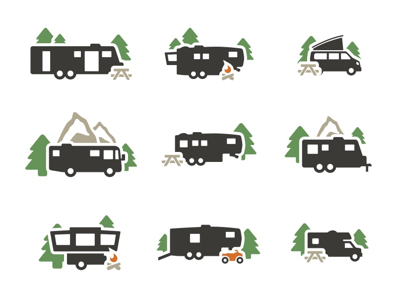 RV Icons nature forest rv camping travel icons