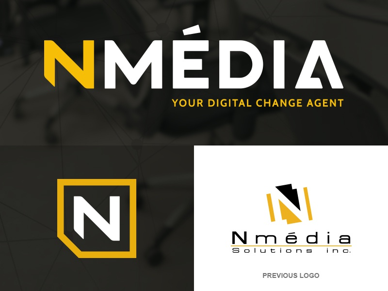 Nmédia Before/after typography corporate brand identity yellow black branding logo
