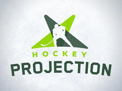 Hockey Projection player symbol typogrpahy ice projection green sports hockey design branding logo
