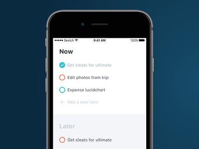 Do now, Do later form checkbox todo app ios tasks