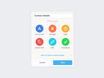 New Field popup webapp colour icons creation new popup ui