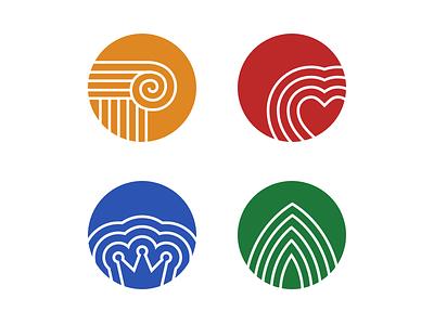 Icons bold geometric icons