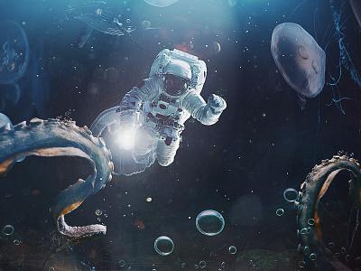 DEEP OCEAN ASTRONAUT design concept app art photomanipulation concept
