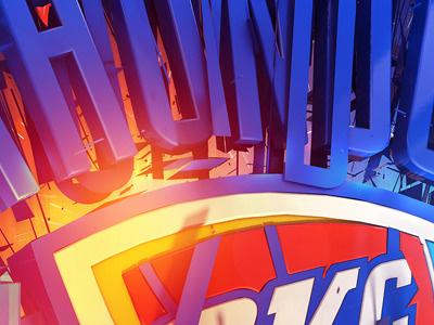 OKC 3d render c4d type nba logo effects light
