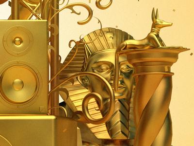 Egyptian idol 3d rendernc4d gold effects