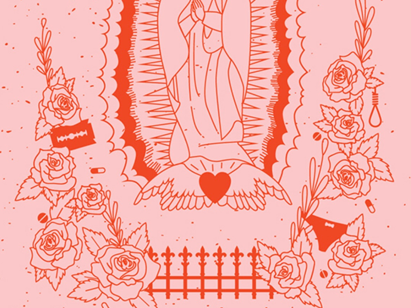 Virgin Suicides virgin mary religion razor blade roses pink and red pink poster movie poster virgin suicides