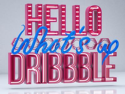 Hello Dribbble! c4d text cinema4d 3d dribbble debut