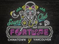 Lucky DJ Fortune Cat Neon