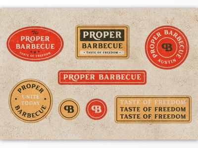 Proper Barbecue Label badge typography product packaging old style labels organic handmade texture rough ligatures contemporary packaging branding serif classic poster logo display vintage retro