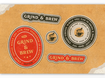 Grind & Brew Coffee Logo vintage typography texture serif rough retro product poster packaging organic old style logo ligatures labels handmade display contemporary classic branding badge