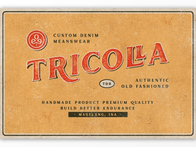 Tricolla Brand vintage typography texture serif rough retro product poster packaging organic old style logo ligatures labels handmade display contemporary classic branding badge