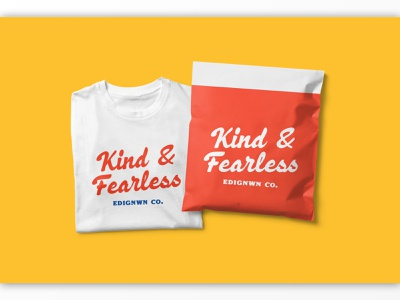 Kind & Fearless T-shirt display badge label illustration lettering branding packaging logotype logo typography