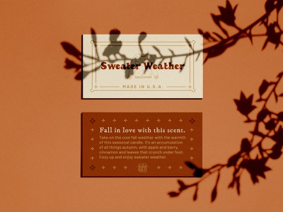 Fall Candle Card orange packaging design print designer print leaves ceramic pottery sweater weather branding scents typography fall colors halloween autumn candle candle packaging business card candle card print design