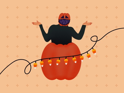 Surprise! It's Pumpkin Dance Man skeleton pumpkin man spooky season daily illustration exercise covid illustration digital october autumn fall pattern spooky illustration halloween illustration candy corn pumpkin dance pumpkin dailyillustration procreate illustration