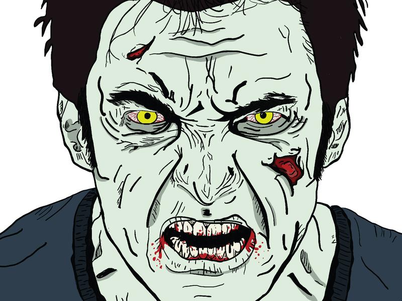 Zombie Hugh Jackman practice adobe illustrator hugh jackman zombie illustration