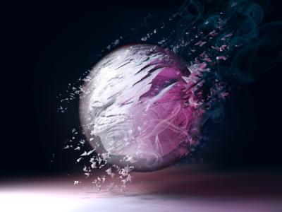Entity - first draft sphere particles render blender cover art album 3d art