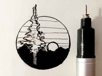 Logo Sketch mock ink california redwood graphic tree pen illustration logo sketch