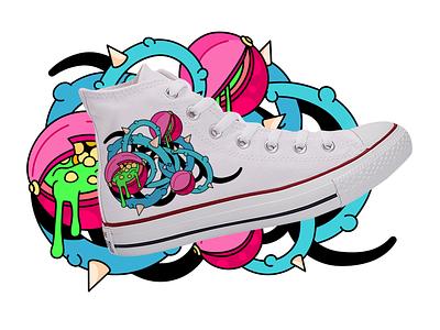 Converse Sneakers Print Design vector illustration vectorart colors berry shoes print plant illustration vector sneakers converse design