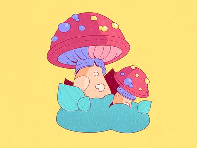 Cute mushroom color illustration cute illustration creative work greens flat illustration line plant vector illustration mushrooms illustration mushrooms nature illustration nature green pink yellow colors affinitydesigner illustration