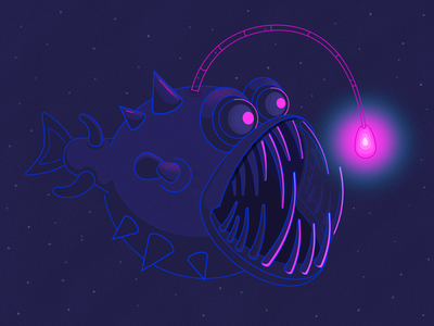 Fish Angler fish illustration fish swims in water water underwater colors popular vector art darkness dark dark colors creative affinitydesigner vector illustration vector illustration light angler fish