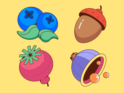 Plants icons set / Nature illustrations icons set blueberry orange purple rose blue acorn perfect pixel perfect perfect forms story cool colors berry nature plants creative affinitydesigner vector illustration art illustration