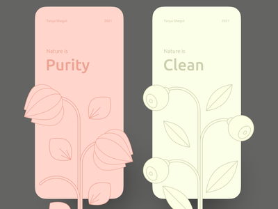 Nature illustrations | Aesthetic & clean plants design vector illustration creative design delicate perfect colors perfect pixel graphicdesign minimal web minimal design minimalism clean design purity flower plant berry nature illustration mobile  creative screen clean ui web clean graphic