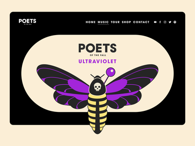 Poets of the Fall | Music album illustration concept graphic design creative web poets of the fall music design art typography yellow violet insect creative design perfect colors perfect pixel logo vector illustration butterfly music album music ui web design illustration