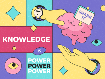 Knowledge is power | Illustration for the Thinkific education illustrations colors combinations yellow affinitydesigner trend illustrations creative illustration bright colors digital illustration knowledge brain texture illustration texture perfect pixel perfect colors graphic design vector illustration illustration