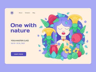 Nature illustration | Illustration for yoga bright colors flowers web design berry leaves chill girl yoga nature illustration plants ui illustration web illustration web relax noise texture illustration texture yogaillustration perfect pixel perfect colors vector illustration illustration